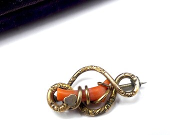 Victorian Coral Gold Filled Brooch Pin