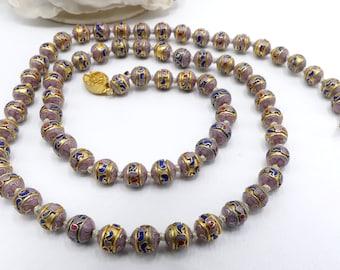 Vintage Deep Enamel Cloisonn\u00e9 Beads Necklace 22