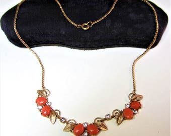 Vintage Trifari gold filled chain and coral rhinestone necklace