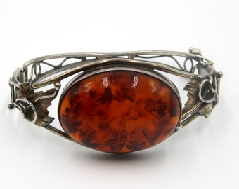 Vintage sterling silver Baltic amber hinged bangle