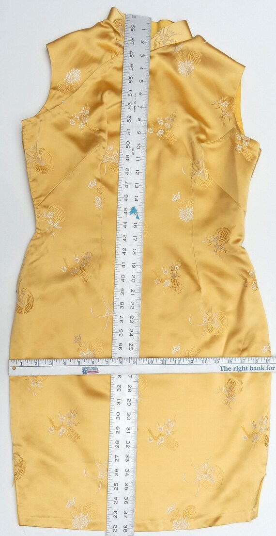 Vintage 60's Chinese silk QiPao color yellow - image 5