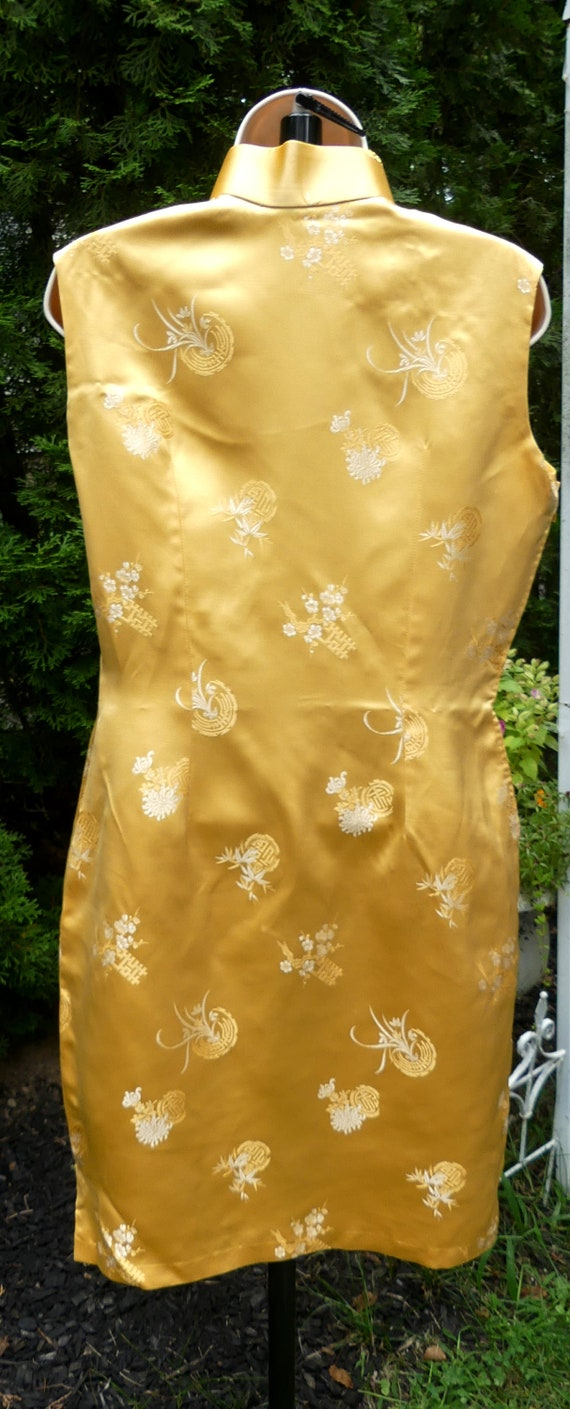 Vintage 60's Chinese silk QiPao color yellow - image 4