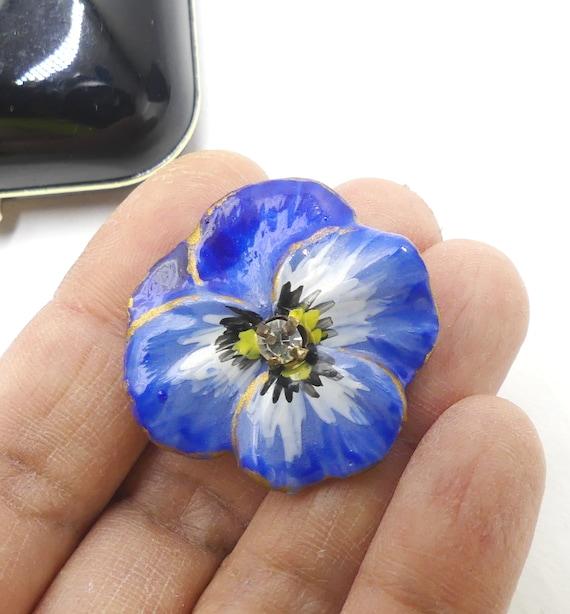Vintage handmade blue pansy flower ceramic brooch… - image 4