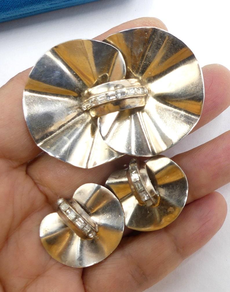 Vintage  30/'s Art Deco marked sterling silver pat# 1967965 clip earrings brooch set