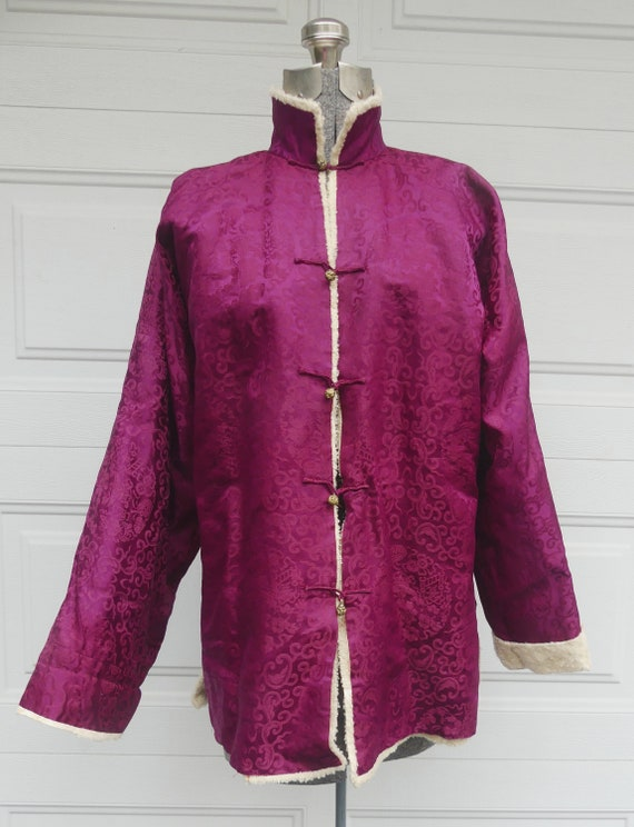 Antique Chinese silk & baby sheep wool jacket