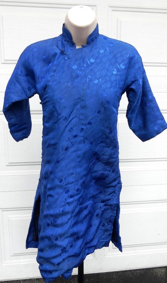 Vintage 30's kid blue silk winter coat