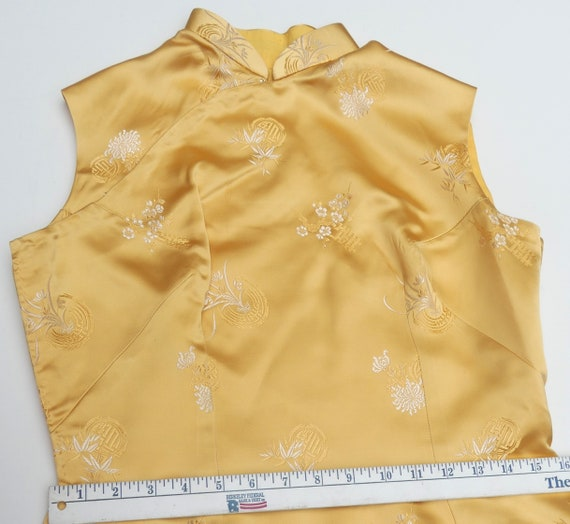 Vintage 60's Chinese silk QiPao color yellow - image 6