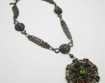 "Vintage brass chain & multi rhinestone large pendant necklace 15"" ( 3' extension)"