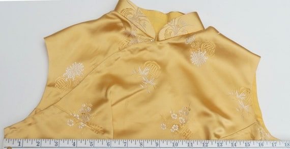 Vintage 60's Chinese silk QiPao color yellow - image 9