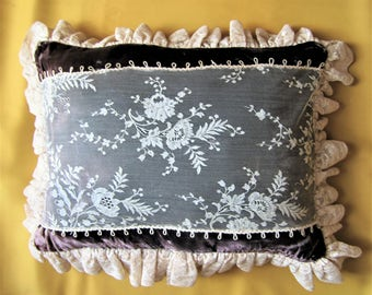 Antique lace and vintage velevt pillow
