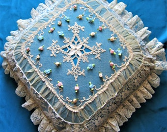 Redesigns handmade antique lace & vintage blue lining pillow 16""