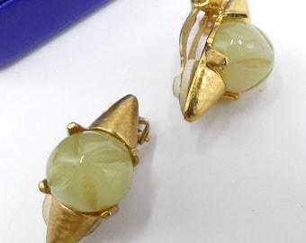 Vintage signed Delphine Nardin Paris gold tone lucite cabochon clip on earrings