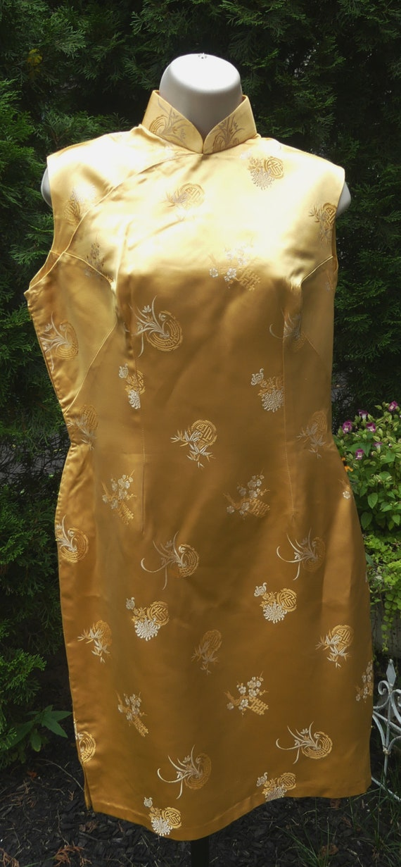 Vintage 60's Chinese silk QiPao color yellow