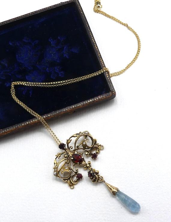 Antique vintage  Victorian 14k gold garnet aquamar