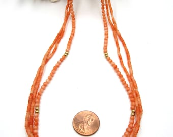 Vintage Chinese 3 strings coral beads necklace