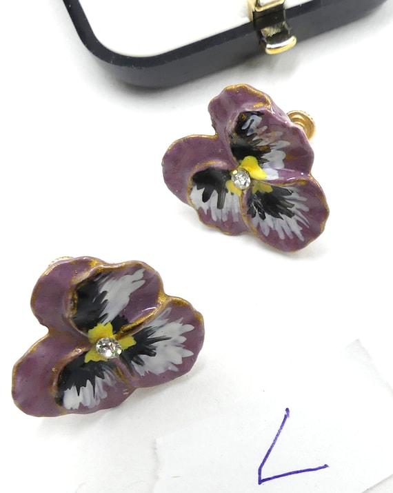 Vintage handmade ceramic pansy flower screw back e