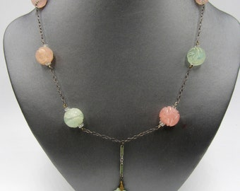Old sterling silver chain & Chinese carved quartz beads jade pendant necklace