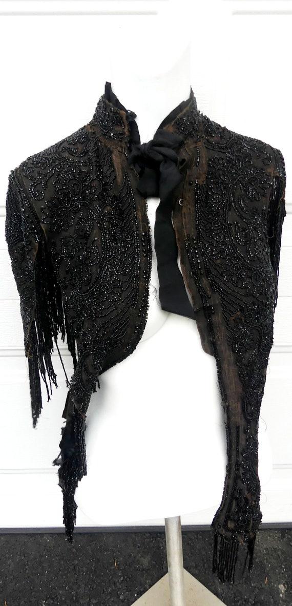 19th C Victorian woman black beaded shawl