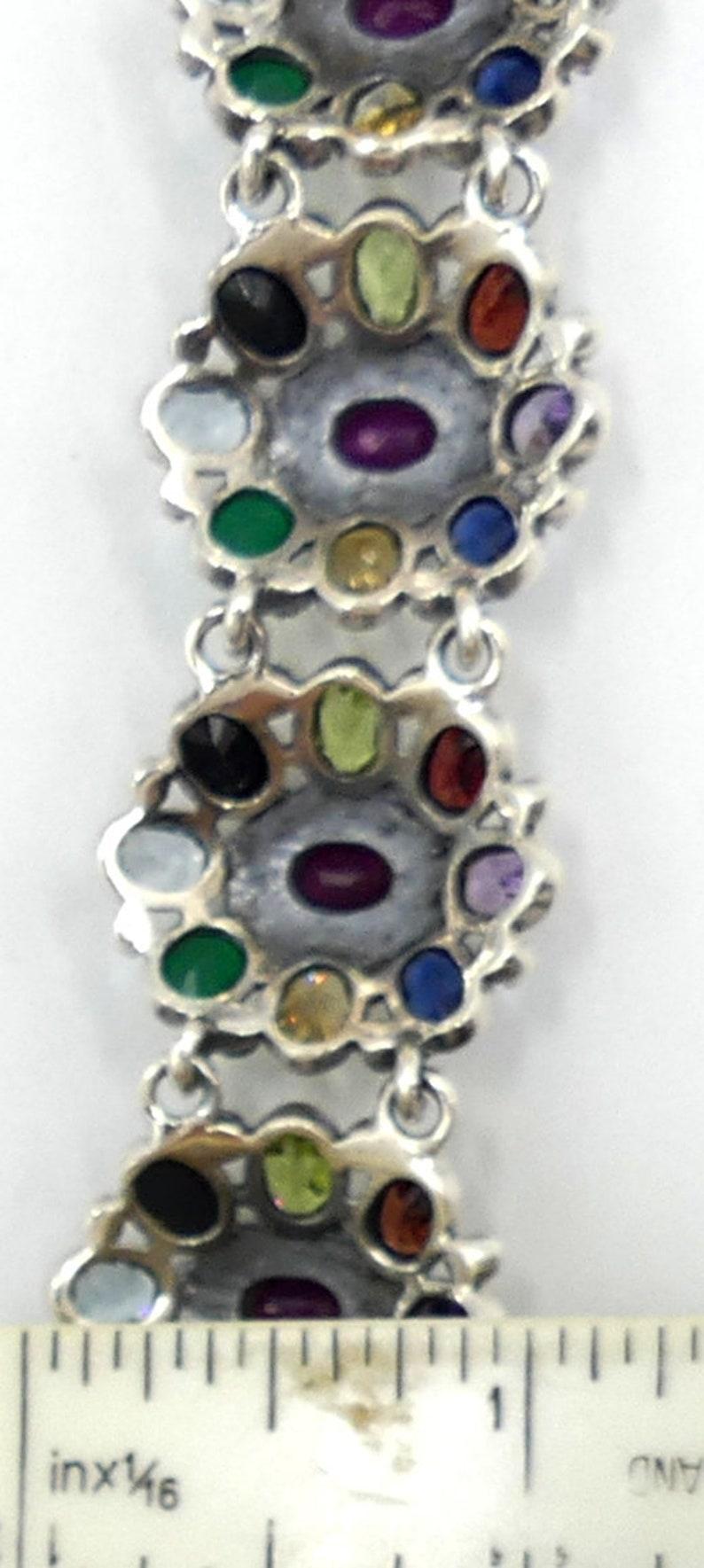 Vintage sterling silver /& multi gemstone bracelet