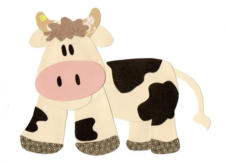 Applique template farm animal cow etsy