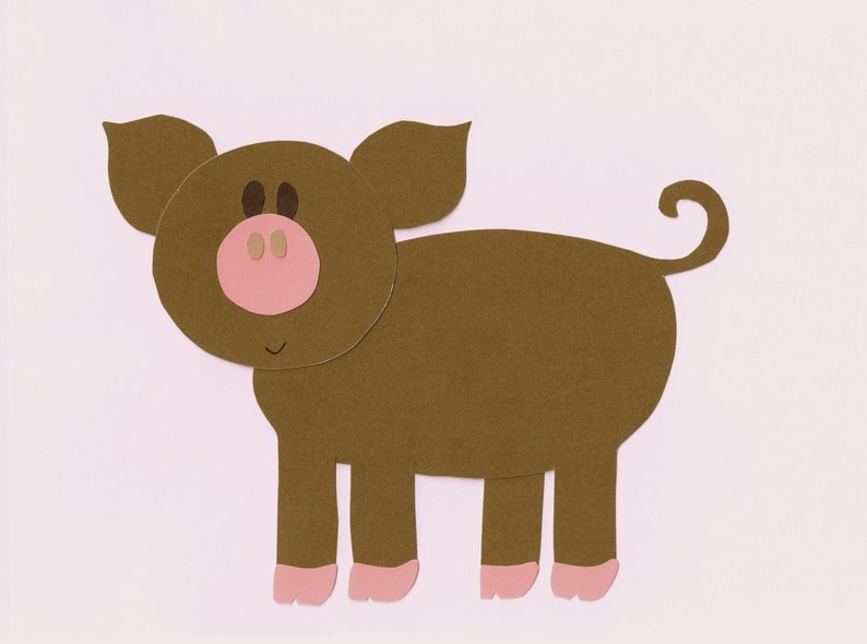 Farm pig applique template pattern farm animal for etsy