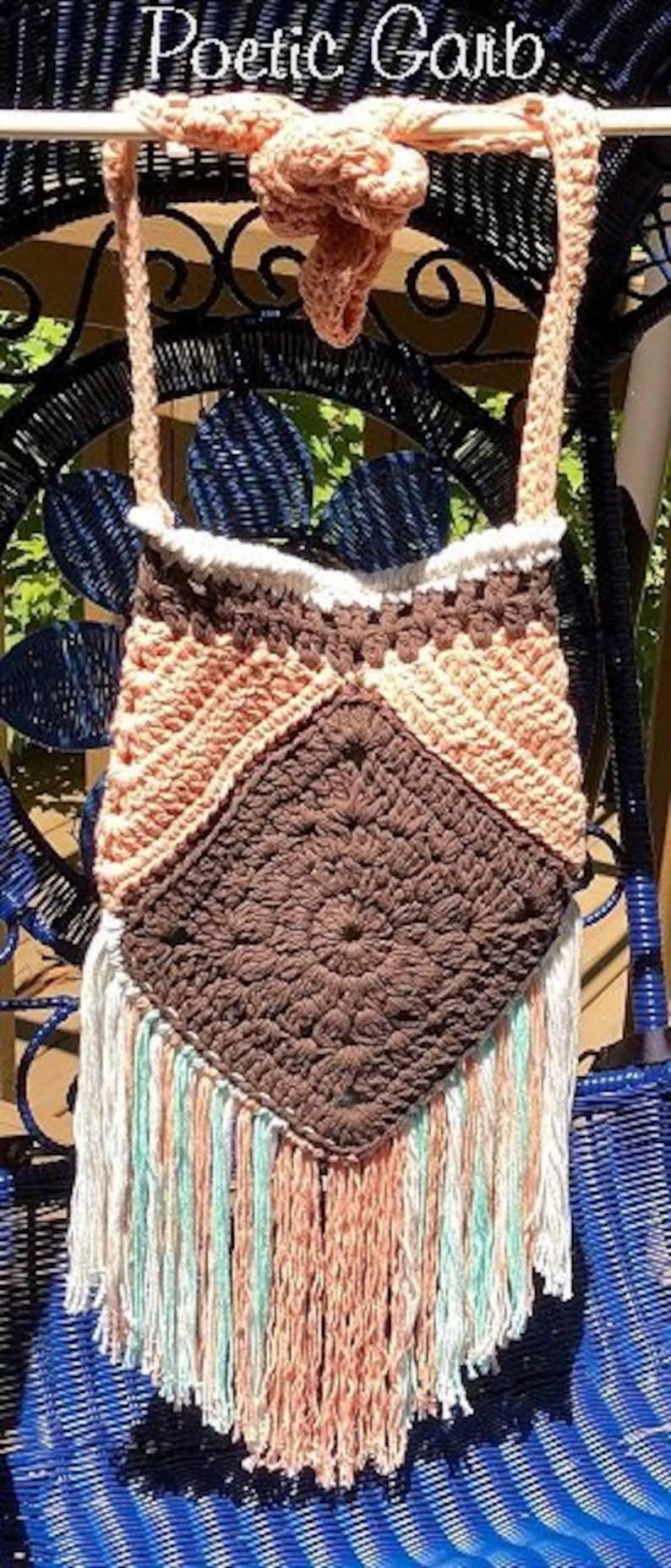 Beachy BOHO Crossbody Bag .. Crochet 100/% Cotton