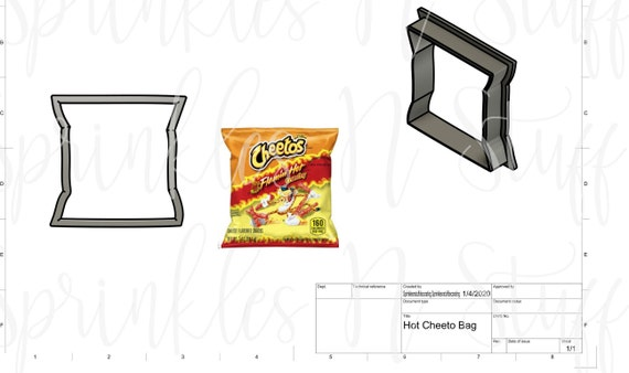 Hot Cheeto Bag Cookie Cutter Set w/ Edible Image