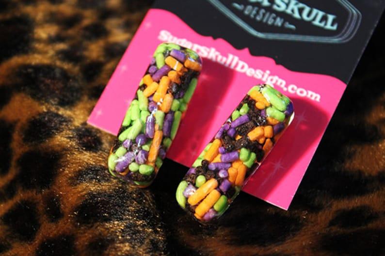 CLEARANCE Halloween Sprinkles Resin Post Earrings  Medium Bar image 0