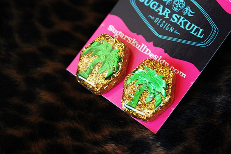 Tropical Palm Tree Sparkle Resin Post Earrings Gold and Green image 0