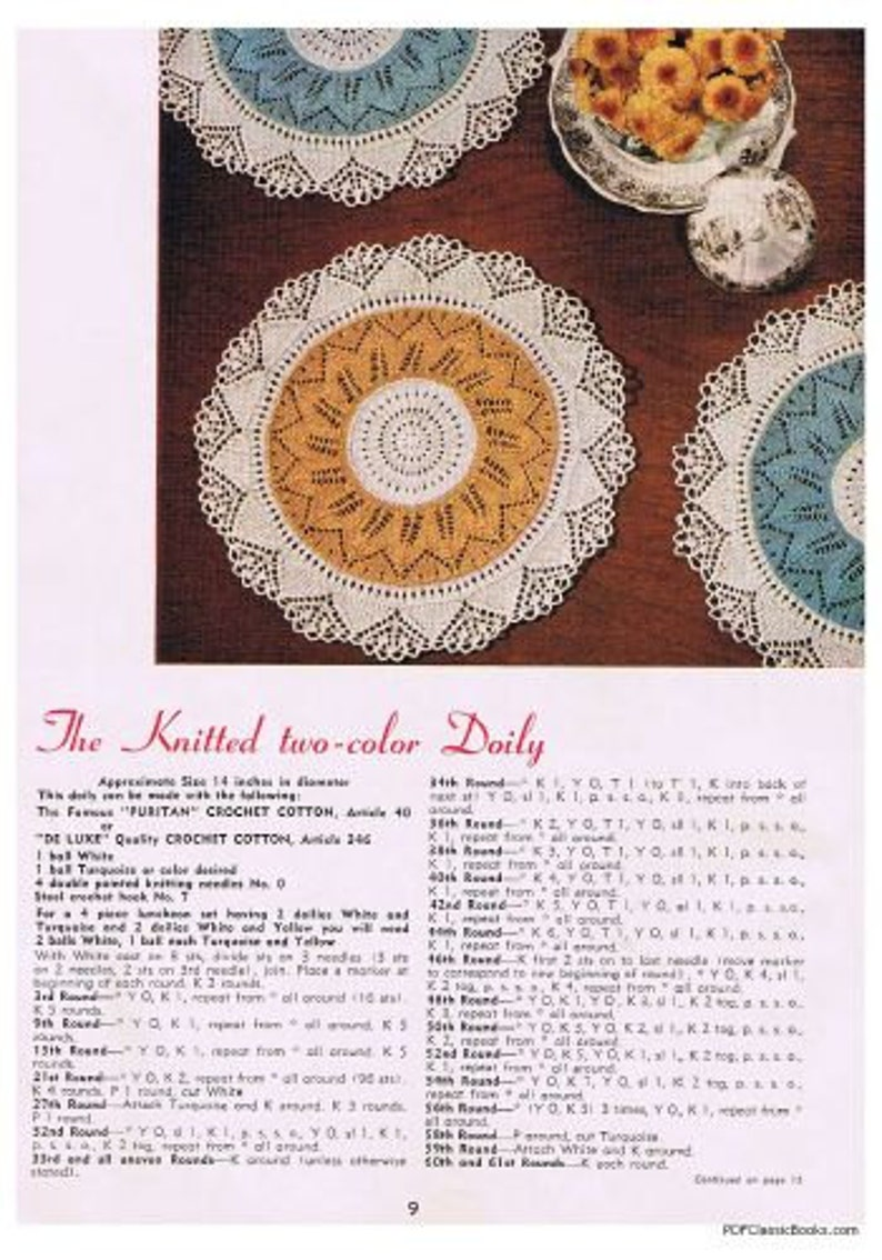 Star Book No.104 Doilies: Pineapples Hairpin Lace Flowers Ruffles Knitted Crocheted PDF