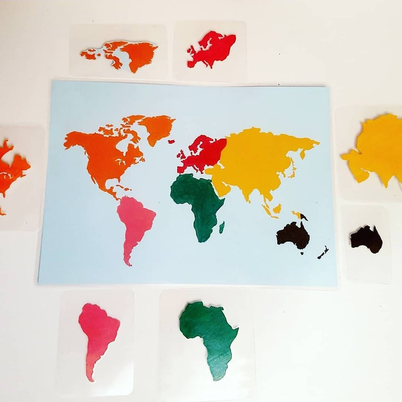 Map Of Asia Un.Continent Globe Matching Flat Map Europe Asia North America South America Australasia Africa Antarctica Oceans Planet Earth