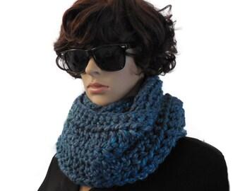 Blue Infinity Scarf Cowl Large Knit Crochet Wool Chunky Varigated Blues hints of Green Infiniti Women Scarfs, 2sistershandmade
