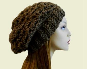 Slouchy Beanie Dark Brown Crochet Hat Womens Hat Slouchy Beanie Sable Beany Slouch Mocha Caffe Birthday Gift, Fall Hat, Winter Hat