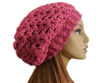 Pink Slouchy Beany Hat Pink Slouchy Crochet Knit Wool Hat Bright Pink Slouchie Beany Slouch Women Hats Teen Pink Hat Gift Idea Gift for Her
