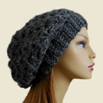 GRAY SLOUCHY Hat Bestseller Crochet Knit Hat Dark Charcoal Grey Slouchie Beanie Hat Women Teen Bestselling Gift Idea Dark Gray Top Rated