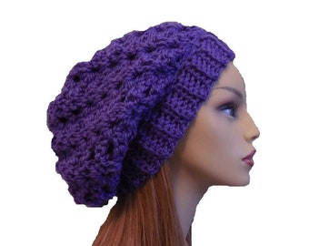 Purple Slouchy Beanie Hat, Slouch Hat