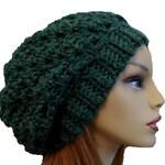 GREEN SLOUCHY HAT Crochet Knit Chunky Slouchy Beanie  Green w/Dark Brown Wool Slouch Beany Women Hats Accessories Teen Winter Hat Gift Idea