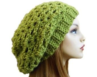 Green Slouchy Hat Beanie Knit Crochet Slouchie Beany Women Crochet Hat Sage Green Hat Gift Idea