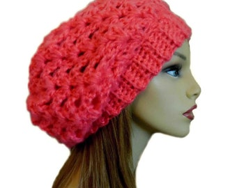 Slouchy Beanie Women Coral Slouchy Hat Knit Crochet Bright Orange Slouchie  Beany Knitwear Hats Gift for Her 45093abda087