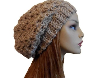 Slouchy Beanie Hat Light Brown Knit Crochet Slouchie Beany Tan Camel  Knitwear Gift for Her 316fc247c105