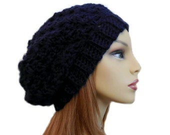 57c39093687 SLOUCHY Beanie Hat Crochet Knit Slouchie Dark Blue Beanie Slouch Women Teen  Darkest Midnight Blue