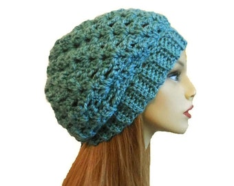 Slouchy Beanie Hat Soft Teal Slouchie Beany Crochet Knit Slouch Hat Knit  Slouchy Hat Knit Wool Womens Hats Blue Green 0e448fc06230