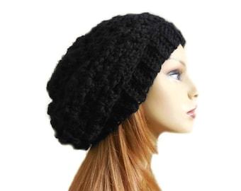 dbc12f242b4 BLACK SLOUCHY Beanie Hat Slouch Knit Slouchie Beany Teen Crochet Womens Hats  Classic Black Knit Hat Vegan Fall Winter Accessories