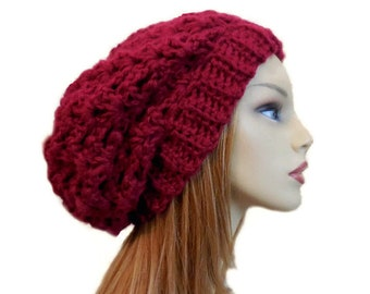 6c7c5ca0f24 Red Slouchy Beanie Festival Wear Night Club Hat Dark Red Knit Crochet  Cranberry Beany Hat Slouch Women Hat