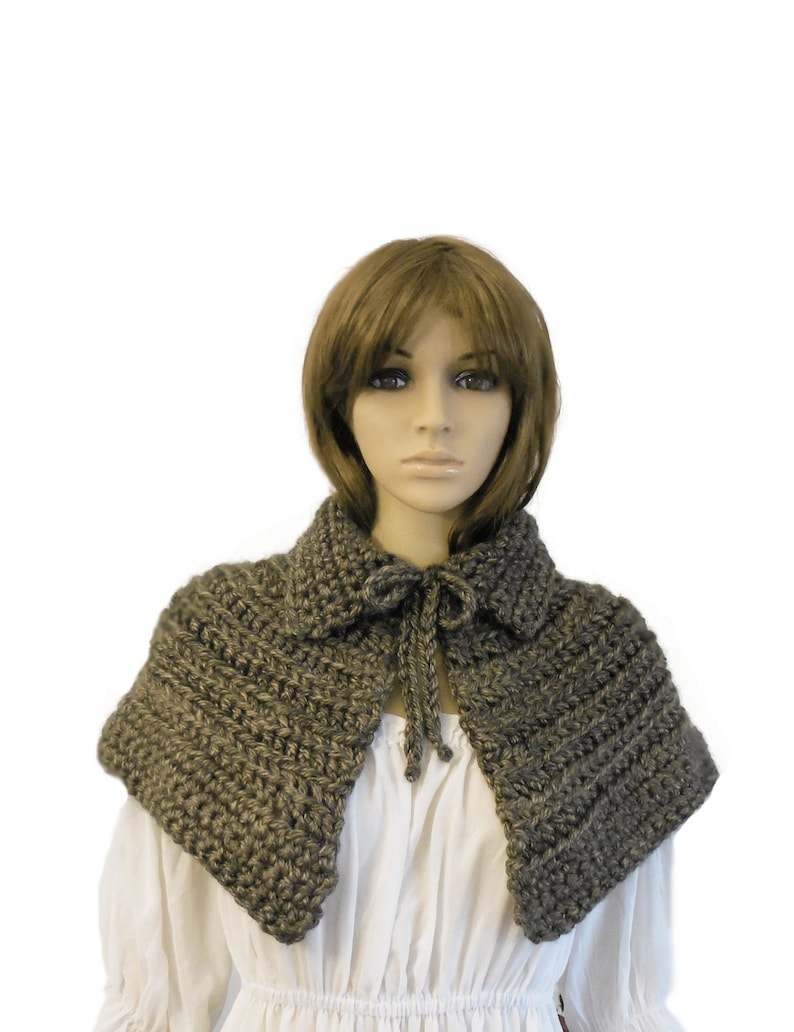 Caplet Brown Mini Cape Knit Chunky Crochet Capelet Cosplay image 0