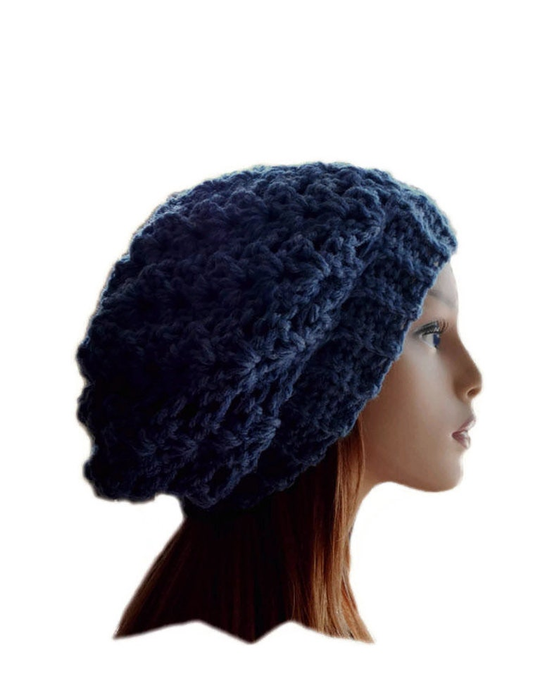 Blue Slouchy Beanie Hat Chunky Medium Darkish Blue Slouchie image 0