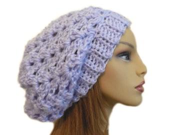 Pale Purple Slouchy Beanie Hat Crochet Knit Slouchie Beanie Slouch Women Teen  Lavendar Light Purple
