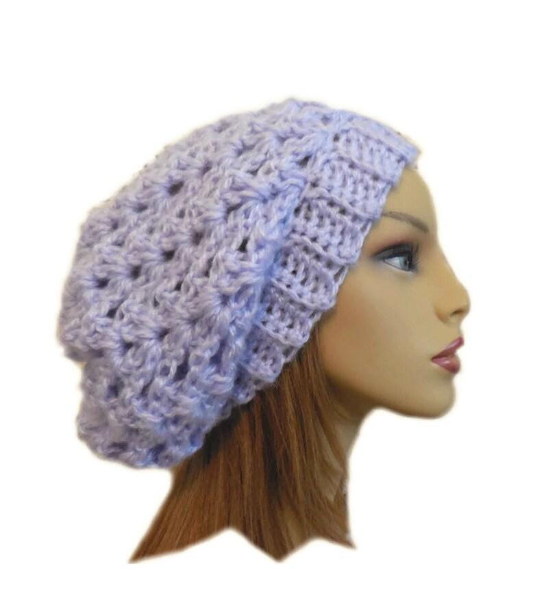 Pale Purple Slouchy Beanie Hat Crochet Knit Slouchie Beanie image 0