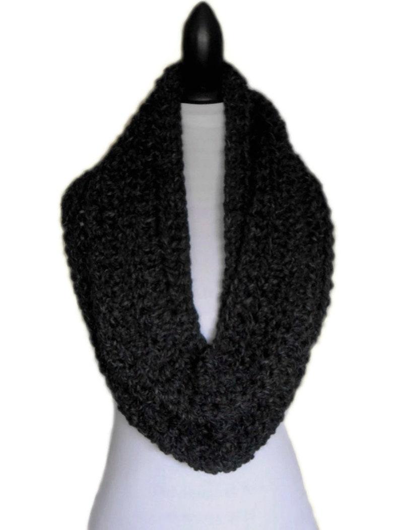 Infinity Scarf Cowl Dark Charcoal Gray Eternity Infiniti Knit image 0