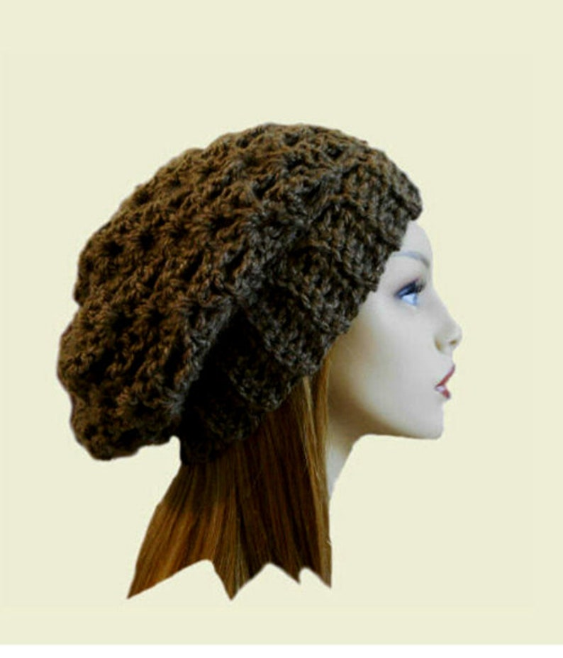 Slouchy Beanie Brown Crochet Hat Womens Hat Slouchy Beanie image 0